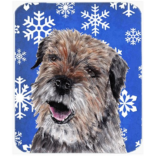 Carolines Treasures SC9599MP 7.75 x 9.25 in. Border Terrier Blue Snowflake Winter Mouse Pad Hot Pad or Trivet