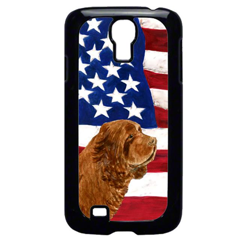 Carolines Treasures SS4037GALAXYS4 USA American Flag With Sussex Spaniel Galaxy S4 Cell Phone Cover