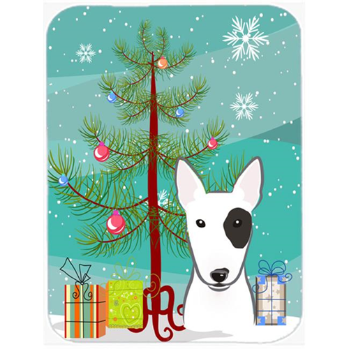 Carolines Treasures BB1581MP Christmas Tree And Bull Terrier Mouse Pad Hot Pad & Trivet