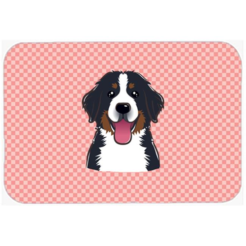 Carolines Treasures BB1237MP Checkerboard Pink Bernese Mountain Dog Mouse Pad Hot Pad Or Trivet 7.75 x 9.25 In.