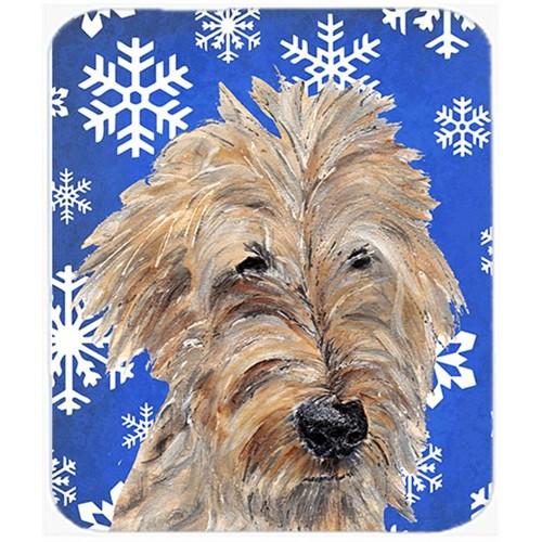 Carolines Treasures SC9605MP 7.75 x 9.25 in. Goldendoodle Blue Snowflake Winter Mouse Pad Hot Pad or Trivet
