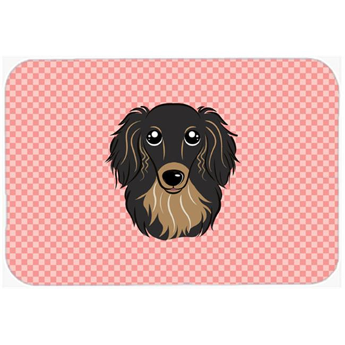Carolines Treasures BB1213MP Checkerboard Pink Longhair Black And Tan Dachshund Mouse Pad Hot Pad Or Trivet 7.75 x 9.25 In.