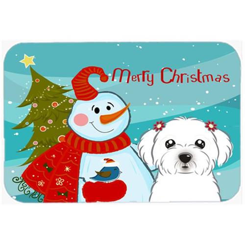 Carolines Treasures BB1828MP Snowman With Maltese Mouse Pad Hot Pad & Trivet