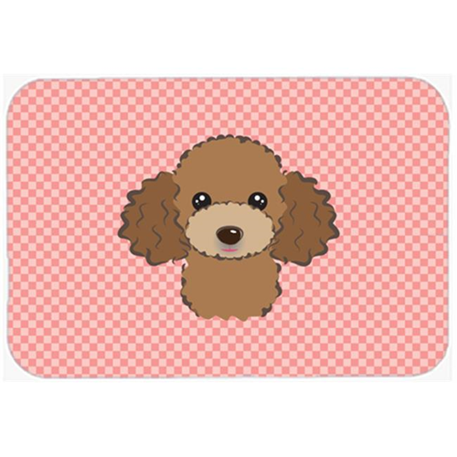 Carolines Treasures BB1256MP Checkerboard Pink Chocolate Brown Poodle Mouse Pad Hot Pad Or Trivet 7.75 x 9.25 In.