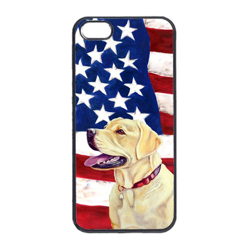 Carolines Treasures LH9008IP4 USA American Flag With Labrador Iphone 4 Cover