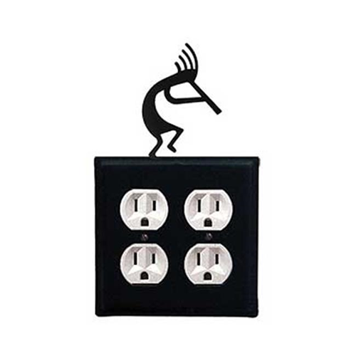Village Wrought Iron EOO-56 Kokopelli Double Outlet Cover - Black