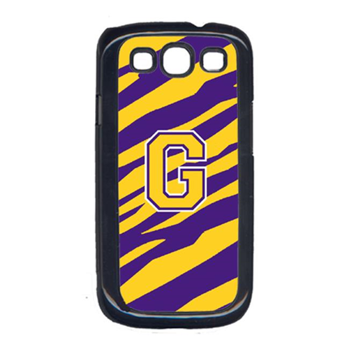 Carolines Treasures CJ1022-G-GALAXYSIII Tiger Stripe - Purple Gold Letter G Monogram Initial Galaxy S111 Cell Phone Cover