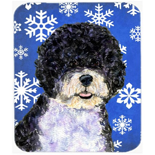 Carolines Treasures SS4628MP Portuguese Water Dog Winter Snowflakes Holiday Mouse Pad Hot Pad or Trivet