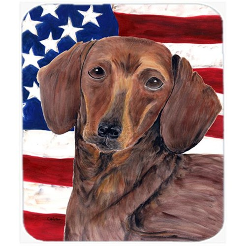 Carolines Treasures SC9010MP Usa American Flag With Dachshund Mouse Pad Hot Pad Or Trivet