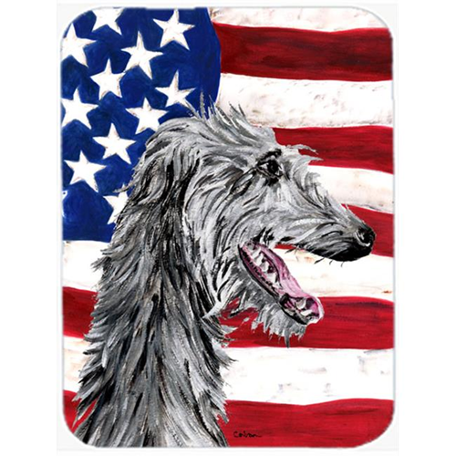 Carolines Treasures SC9645MP Scottish Deerhound With American Flag Usa Mouse Pad Hot Pad Or Trivet 7.75 x 9.25 In.