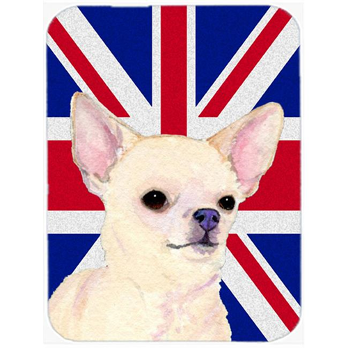 Carolines Treasures SS4914MP 7.75 x 9.25 In. Chihuahua With English Union Jack British Flag Mouse Pad Hot Pad Or Trivet