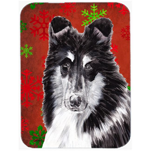 Carolines Treasures SC9750MP Black And White Collie Red Snowflakes Holiday Mouse Pad Hot Pad Or Trivet 7.75 x 9.25 In.
