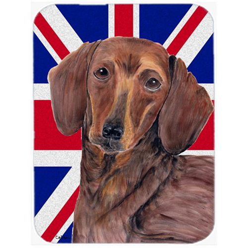 Carolines Treasures SC9825MP 7.75 x 9.25 In. Dachshund With English Union Jack British Flag Mouse Pad Hot Pad Or Trivet