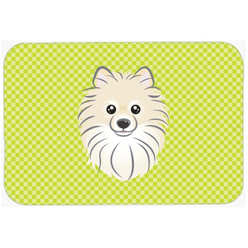 Carolines Treasures BB1269MP Checkerboard Lime Green Pomeranian Mouse Pad Hot Pad Or Trivet 7.75 x 9.25 In.