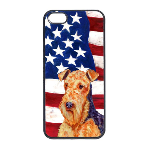 Carolines Treasures LH9005IP4 USA American Flag With Airedale Iphone 4 Cover