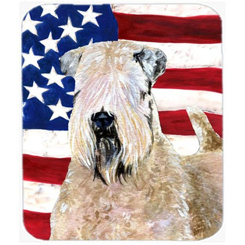 Carolines Treasures SS4019MP Usa American Flag With Wheaten Terrier Soft Coated Mouse Pad Hot Pad Or Trivet
