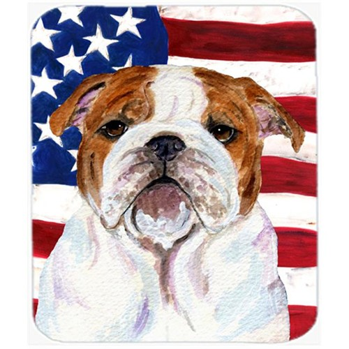 Carolines Treasures SS4046MP Usa American Flag With Bulldog English Mouse Pad Hot Pad Or Trivet