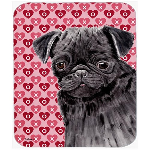 Carolines Treasures SC9273MP Pug Black Hearts Love And Valentines Day Portrait Mouse Pad Hot Pad Or Trivet