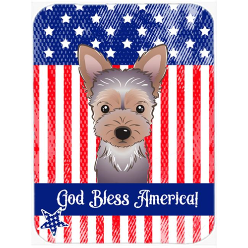 Carolines Treasures BB2162MP God Bless American Flag with Yorkie Puppy Mouse Pad Hot Pad or Trivet