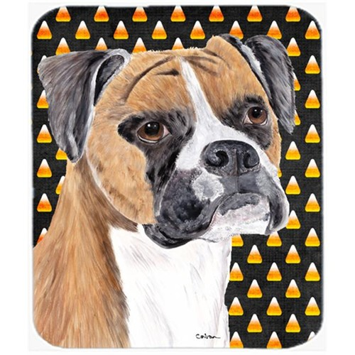 Carolines Treasures SC9191MP Boxer Fawn Uncropped Ears Candy Corn Halloween Mouse Pad Hot Pad Or Trivet