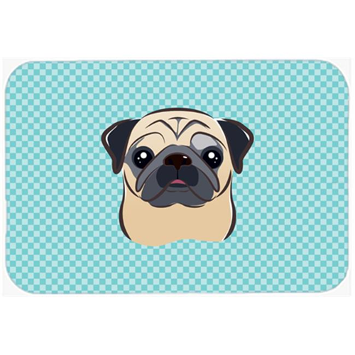 Carolines Treasures BB1200MP Checkerboard Blue Fawn Pug Mouse Pad Hot Pad Or Trivet 7.75 x 9.25 In.