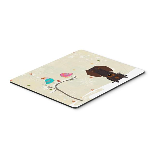 Carolines Treasures BB2601MP Christmas Presents Between Friends Wire Haired Dachshund Chocolate Mouse Pad Hot Pad or Trivet