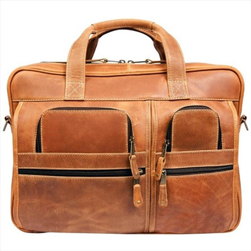 Canyon Outback Leather CS229-26 16 in. Casa Grande Canyon Leather Computer Bag Distressed Tan