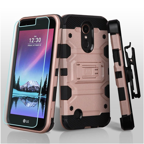 Insten Storm Tank Hard Hybrid Case w/stand For LG Harmony/K10 (2017)/K20 Plus/K20 V, Rose Gold/Black