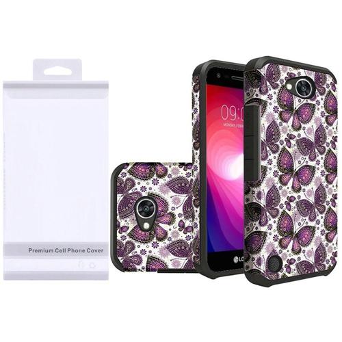 Insten Butterflies Hybrid Plastic TPU Case For LG Fiesta LTE/K10 Power/X Charge, Purple/White