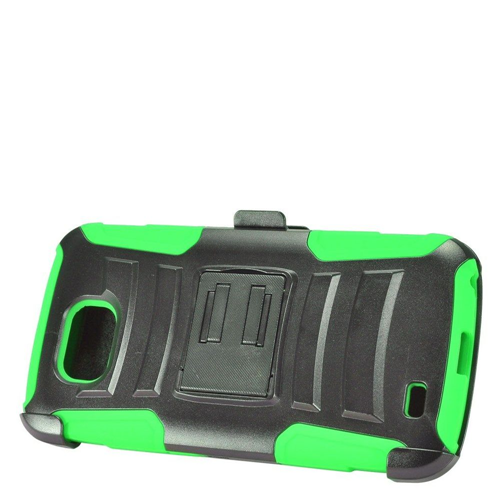 Insten Advanced Armor Hard Hybrid Silicone Case w/stand/Holster For LG X Venture, Green/Black
