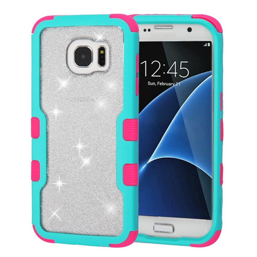 Insten Glitter Hard Dual Layer Plastic TPU Cover Case For Samsung Galaxy S7 Edge, Teal/Pink