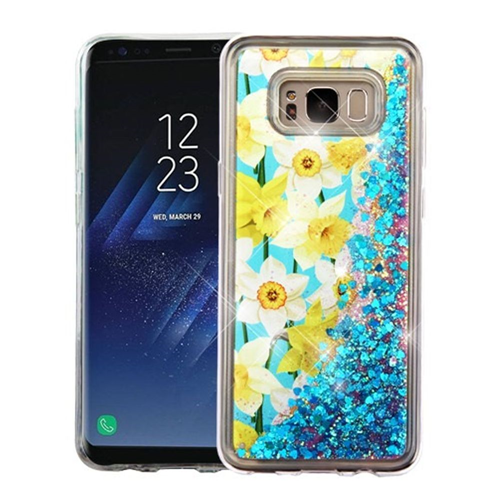 Insten Quicksand Glitter Spring Daffodils Hard TPU Cover Case For Samsung Galaxy S8, Multi-Color