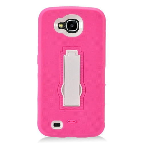 Insten Soft Hybrid Rubber Hard Case w/stand For LG X Venture, Hot Pink/White