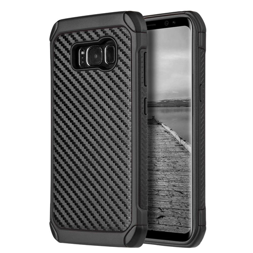 Insten Carbon Fiber Hard Dual Layer Plastic TPU Cover Case For Samsung Galaxy S8 Plus, Black