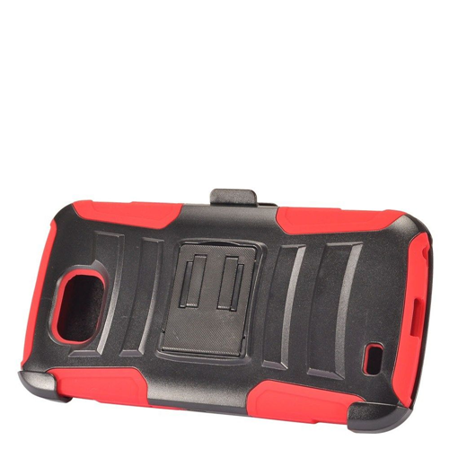 Insten Advanced Armor Hard Hybrid Plastic Silicone Case w/stand/Holster For LG X Venture, Red/Black