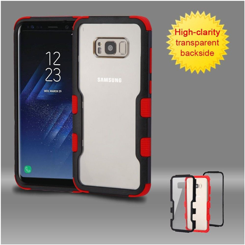 Insten Hard Hybrid Transparent Plastic TPU Cover Case For Samsung Galaxy S8, Black/Red