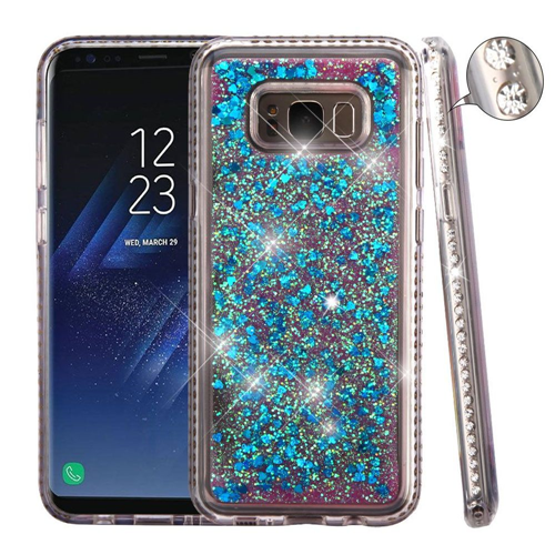 Insten Quicksand Hard Hybrid Rhinestone Cover Case For Samsung Galaxy S8 Plus, Blue