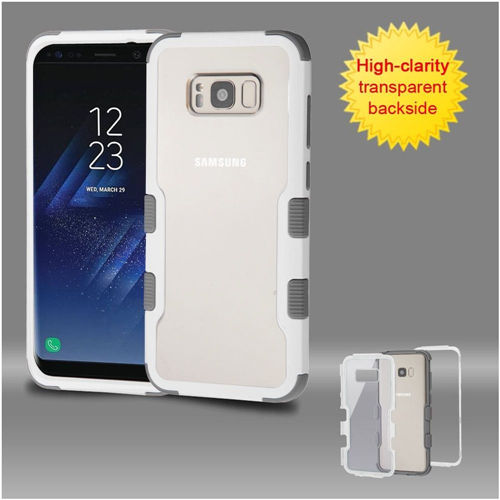 Insten Hard Hybrid Transparent Plastic TPU Cover Case For Samsung Galaxy S8 Plus, White/Gray