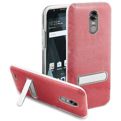 Insten Hard Plastic TPU Case w/stand For LG Stylo 3/Stylo 3 Plus, Red/Clear