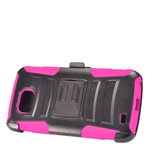 Insten Advanced Armor Hard Hybrid Silicone Case w/stand/Holster For LG X Venture, Hot Pink/Black