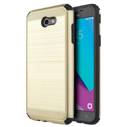 Insten Hard Dual Layer Brushed TPU Cover Case For Samsung Galaxy J7 (2017), Gold/Black