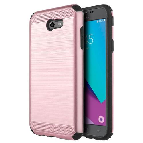 Insten Hard Hybrid Brushed TPU Case For Samsung Galaxy J7 (2017), Rose Gold/Black