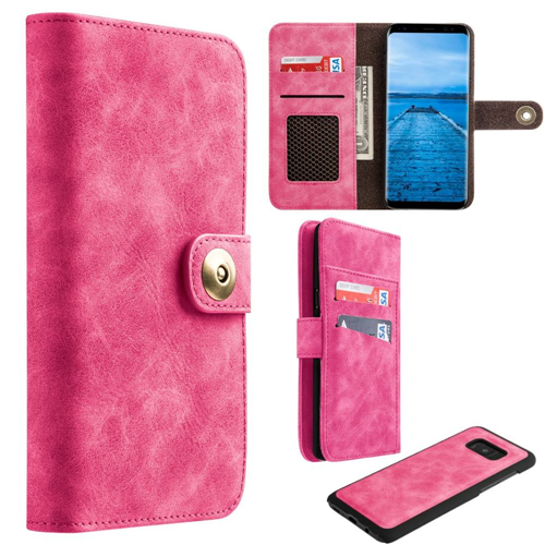 Insten Magnetic Flip Leather Fabric Case w/card slot/Photo Display For Samsung Galaxy S8, Pink