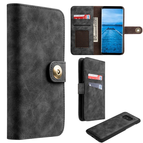 Insten Magnetic Book-Style Leather Fabric Case w/card holder For Samsung Galaxy S8, Black