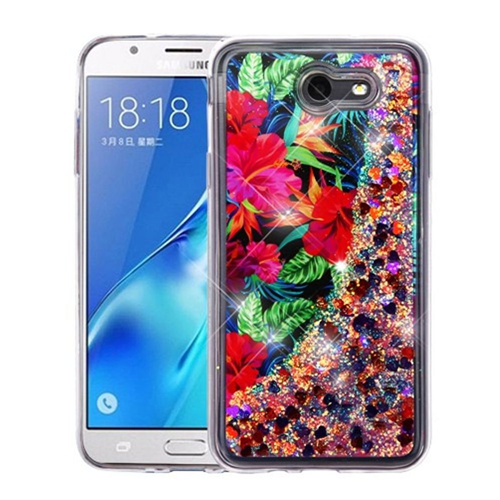 Insten Quicksand Glitter Hibiscus Hard Case For Samsung Galaxy J7 (2017)/J7 Prime, Multi-Color