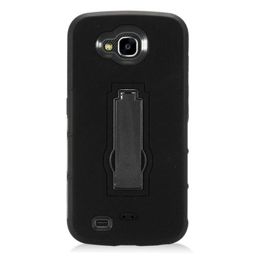 Insten Rubber Hybrid Hard Case w/stand For LG X Venture, Black