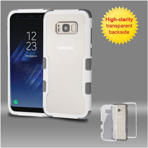 Insten Fitted Soft Shell Case for Samsung Galaxy S8 - White;Clear;Gray