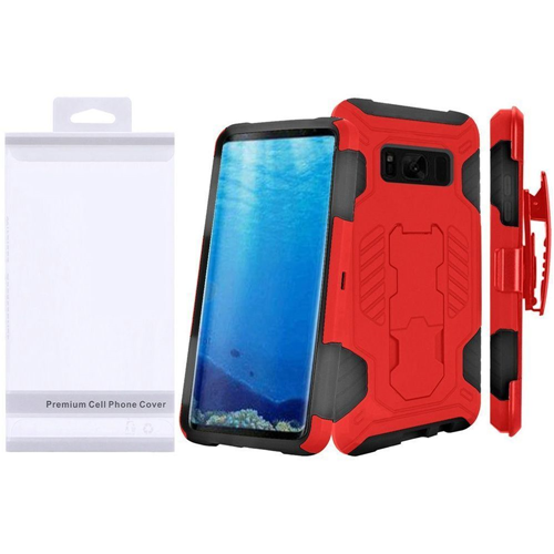 Insten SuperCoil Hard Dual Layer TPU Case w/stand/Holster For Samsung Galaxy S8, Red/Black