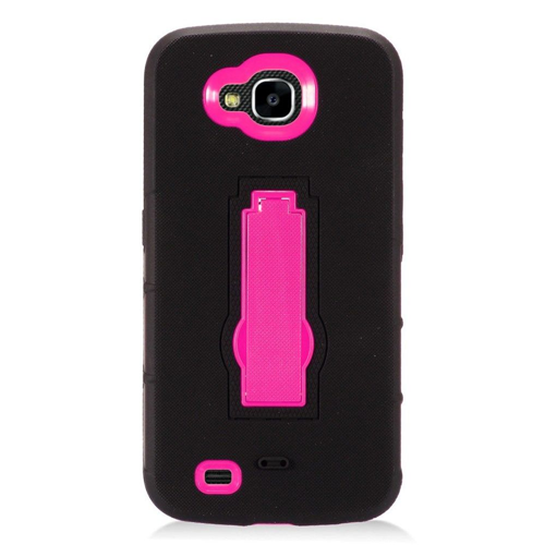 Insten Rubber Dual Layer Hard Cover Case w/stand For LG X Venture, Black/Hot Pink