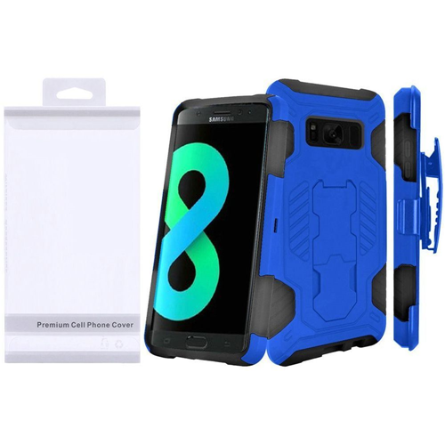 Insten SuperCoil Hard Hybrid TPU Cover Case w/stand/Holster For Samsung Galaxy S8 Plus, Blue/Black